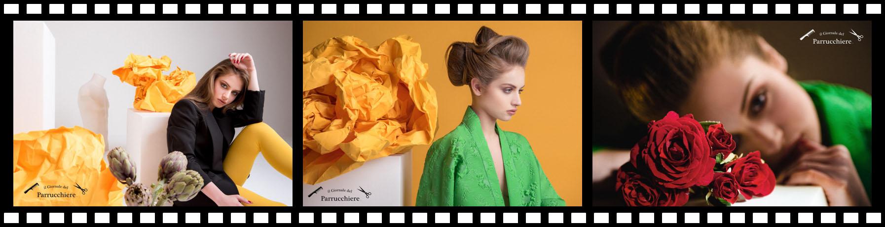 8 Marzo - Festa della Donna il Giornale del Parrucchiere, Gioele de Liso, Mariana Ranieri, Erika Epifania, Fabio Ingegno, Mariagrazia Fedele modella